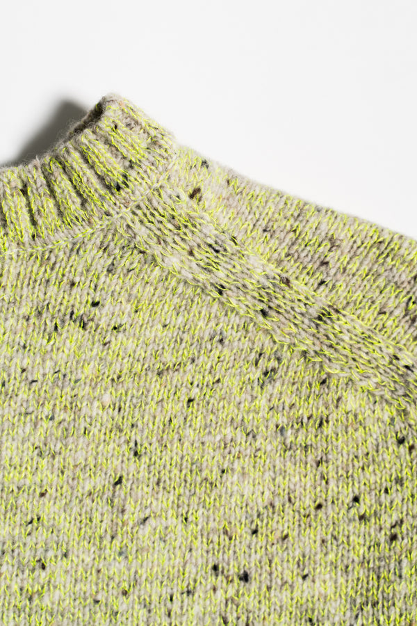 Load image into Gallery viewer, Korka Donegal Wool Sweater — Neon & Grey