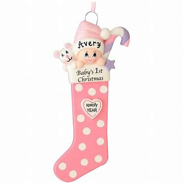 Baby's 1st Christmas Long Stocking Ornament- Pink (1422G)