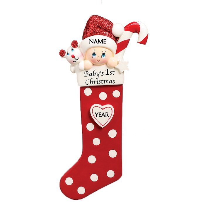 Baby's 1st Christmas Long Stocking Ornament-Red (1422R)