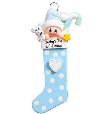 Baby's 1st Christmas Long Stocking Ornament- Blue (1422B)