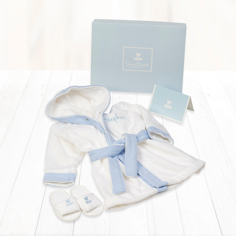 Baby's 1st Bathrobe & Slippers - Blue