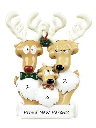 Reindeer Family-3 Personalised Christmas Ornament