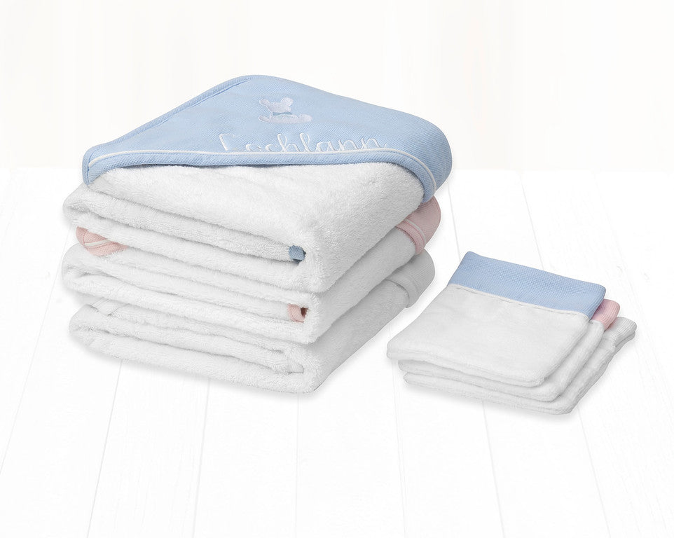 Twins- Hooded Baby Bath Towel & Mitt