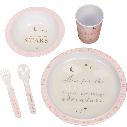 Bambino 5 Piece Melamine Tableware Set - Pink or Blue