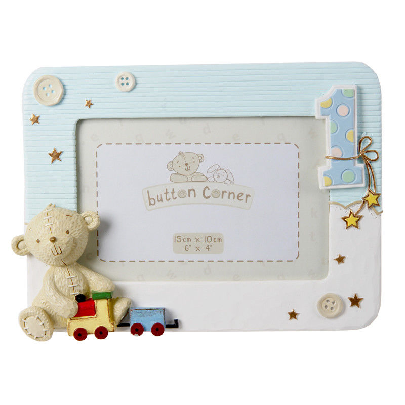 Button Corner 1st Birthday Frame- Boy