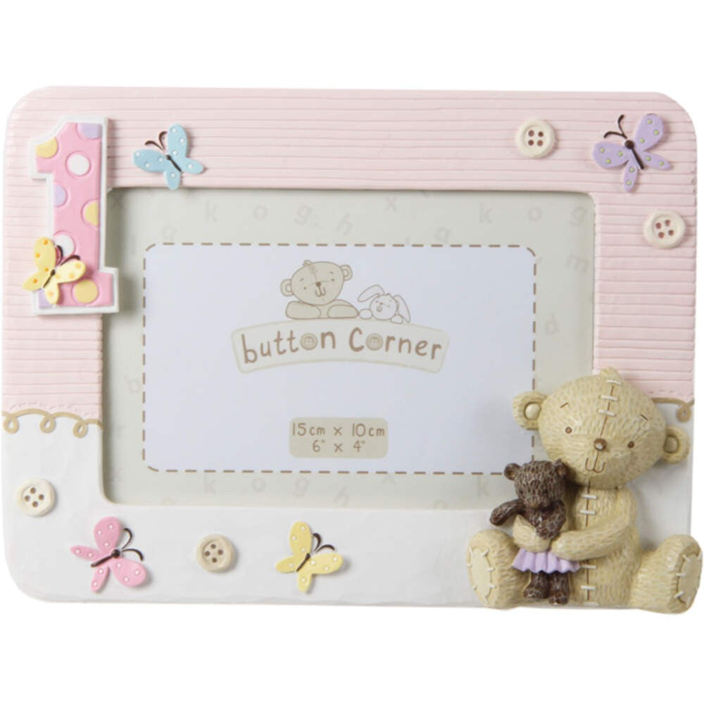 Button Corner 1st Birthday Frame- Girl