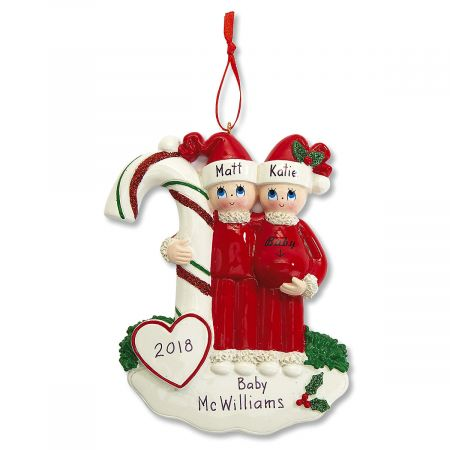 Expectant couple Christmas Ornament- Candycane (1443)