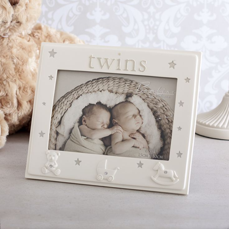 Twins Resin Photo Frame - Baby Gift
