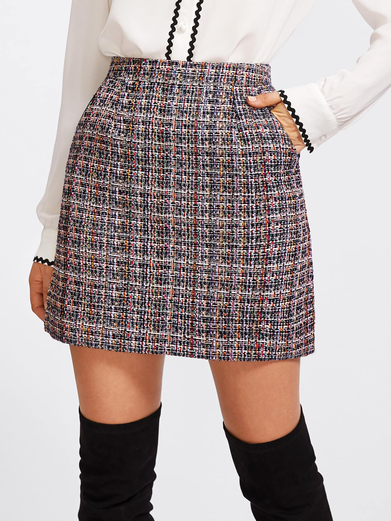 Zip Back Tweed Skirt-skirt-Trendy-JayBoutique-S-Trendy-JayBoutique