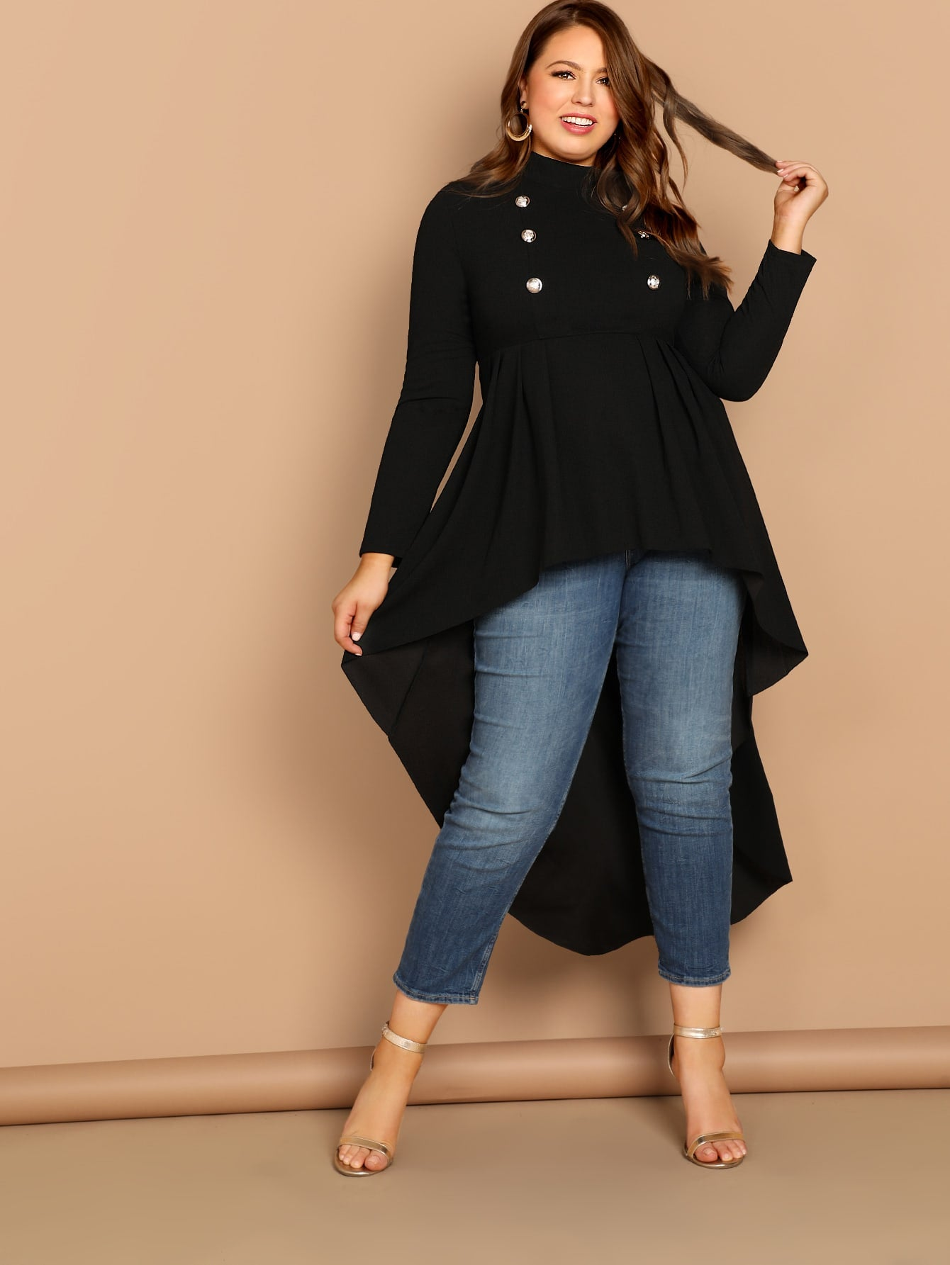 Plus Mock-neck Dip Hem Top-Trendy-JayBoutique-Black-0XL-Trendy-JayBoutique