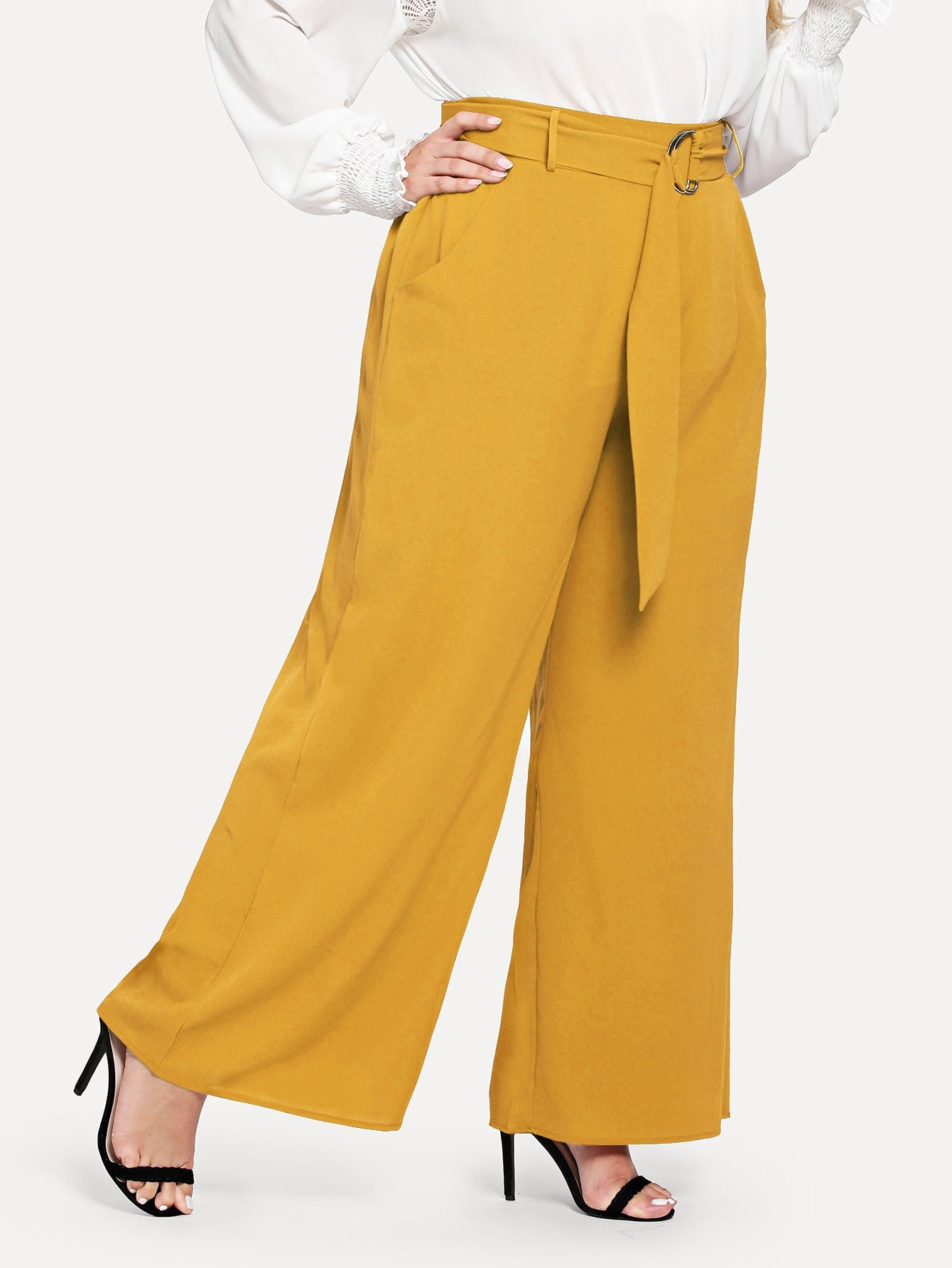Plus Adjustable Belted Wide Leg Trousers-Regular-Trendy-JayBoutique-Yellow-0XL-Trendy-JayBoutique