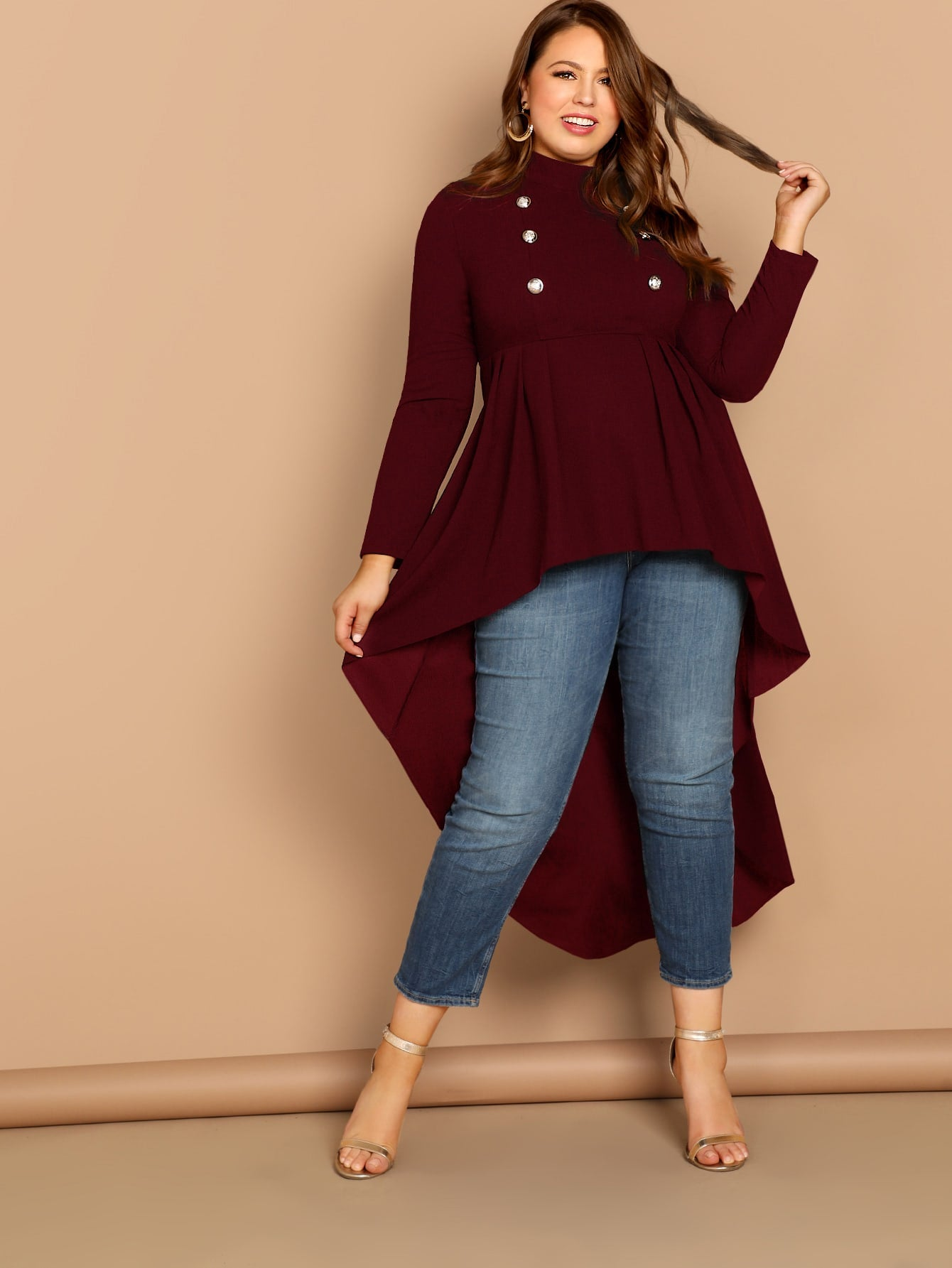 Plus Mock-neck Dip Hem Top-Trendy-JayBoutique-Burgundy-0XL-Trendy-JayBoutique