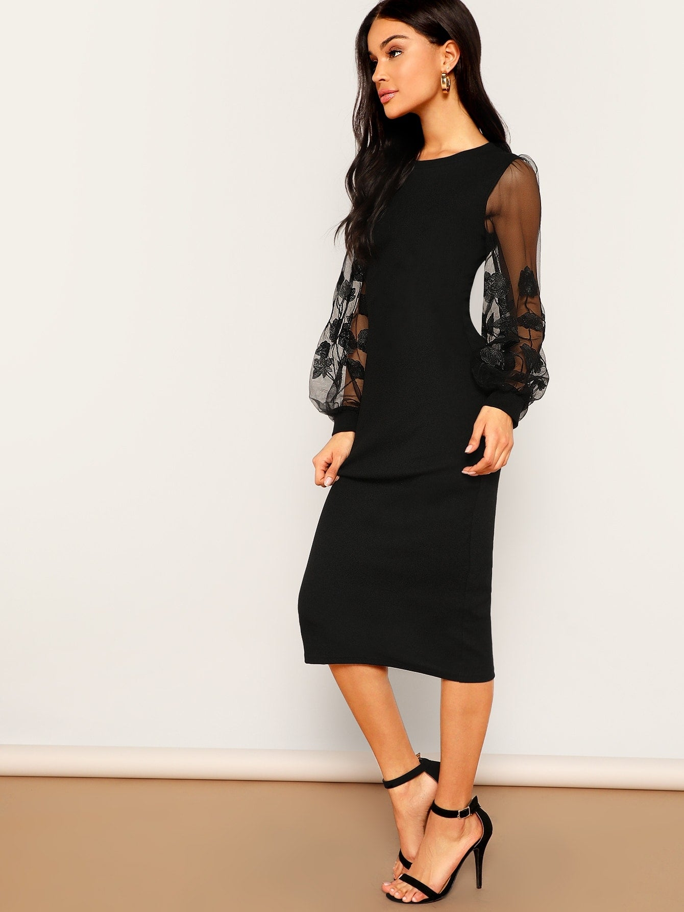 Embroidery Mesh Insert Puff Sleeve Fitted Dress-Elegant-Trendy-JayBoutique-XS-Trendy-JayBoutique