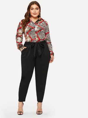 Plus Solid Self-tie Waist Trousers-Polyester-Trendy-JayBoutique-Black-0XL-Trendy-JayBoutique