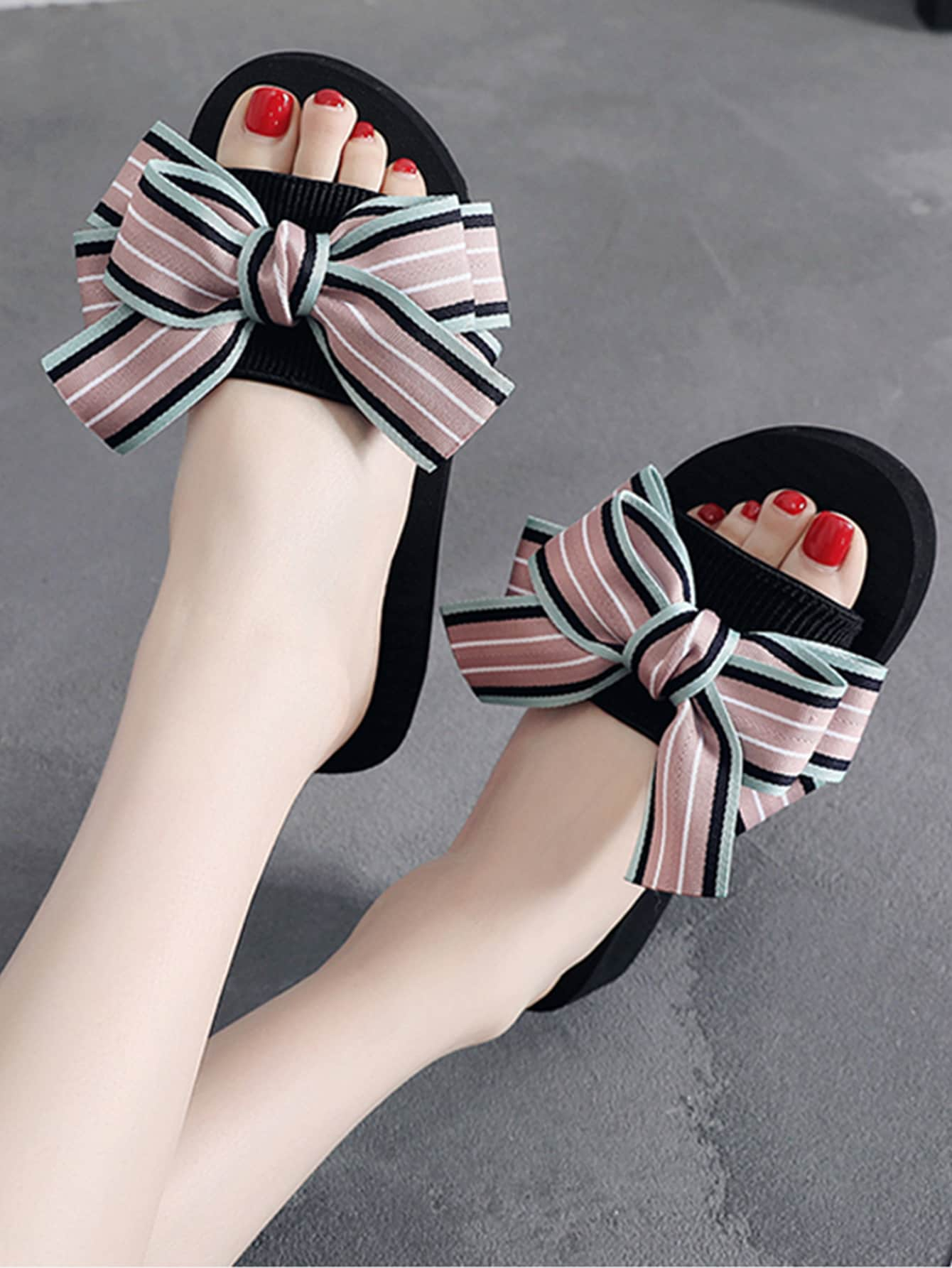 Striped Bow Decor Sliders-Pink-Trendy-JayBoutique-EUR36-Trendy-JayBoutique