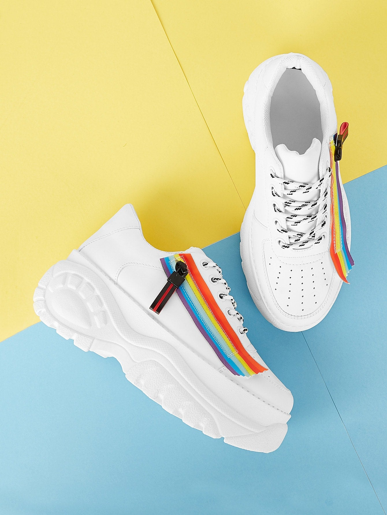 Rainbow Lace-up Chunky Sneakers-Mesh-Trendy-JayBoutique-EUR36-Trendy-JayBoutique