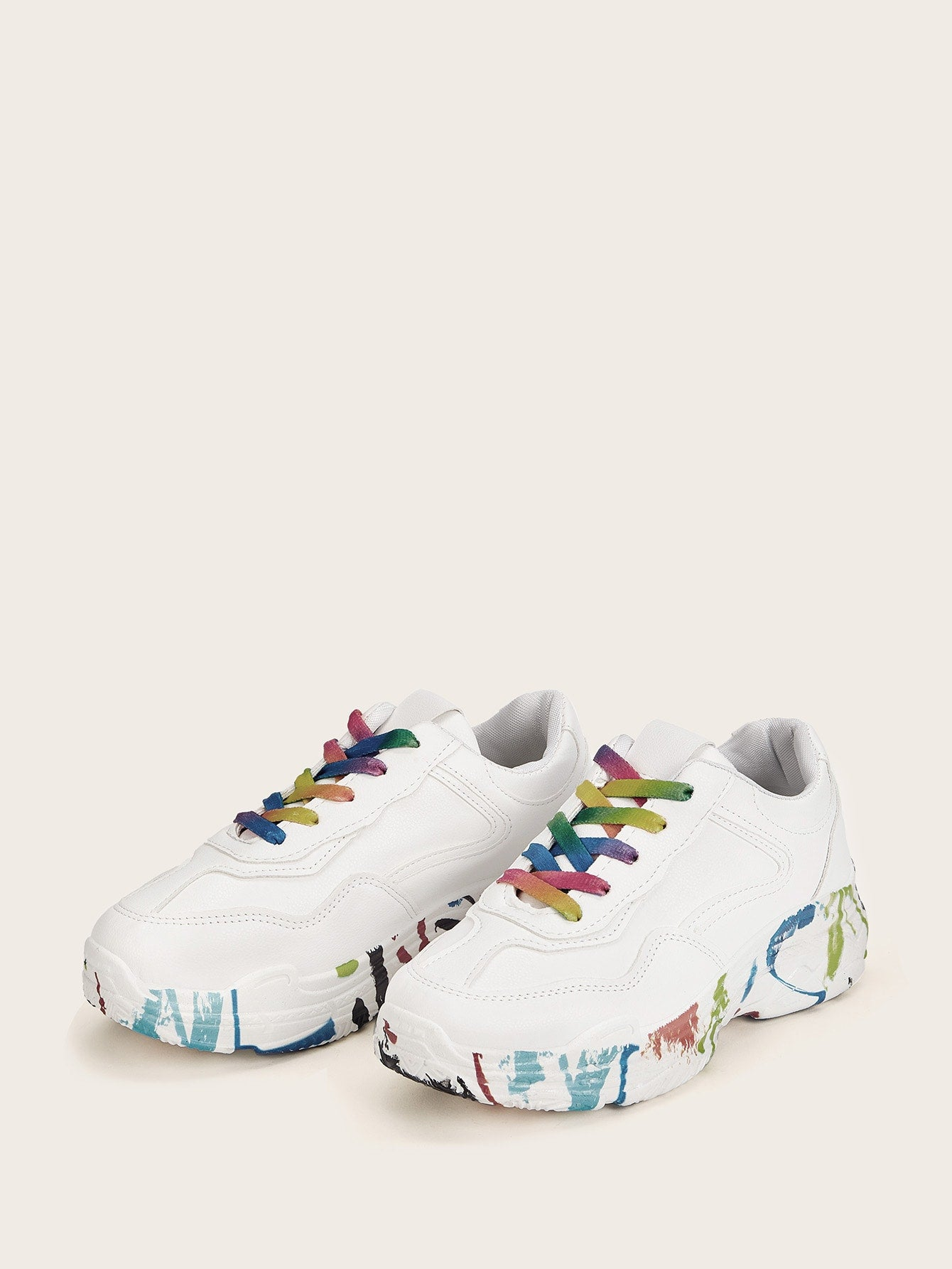 Colourful Lace-up Chunky Sneakers-PU-Trendy-JayBoutique-EUR35-Trendy-JayBoutique
