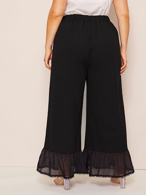 Plus Ruffle Hem Wide Leg Trousers-Loose-Trendy-JayBoutique-0XL-Trendy-JayBoutique