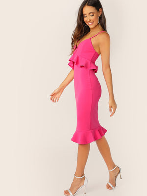 Neon Pink Bodycon Pep Slip Dress-Elegant-Trendy-JayBoutique-Red-XS-Trendy-JayBoutique