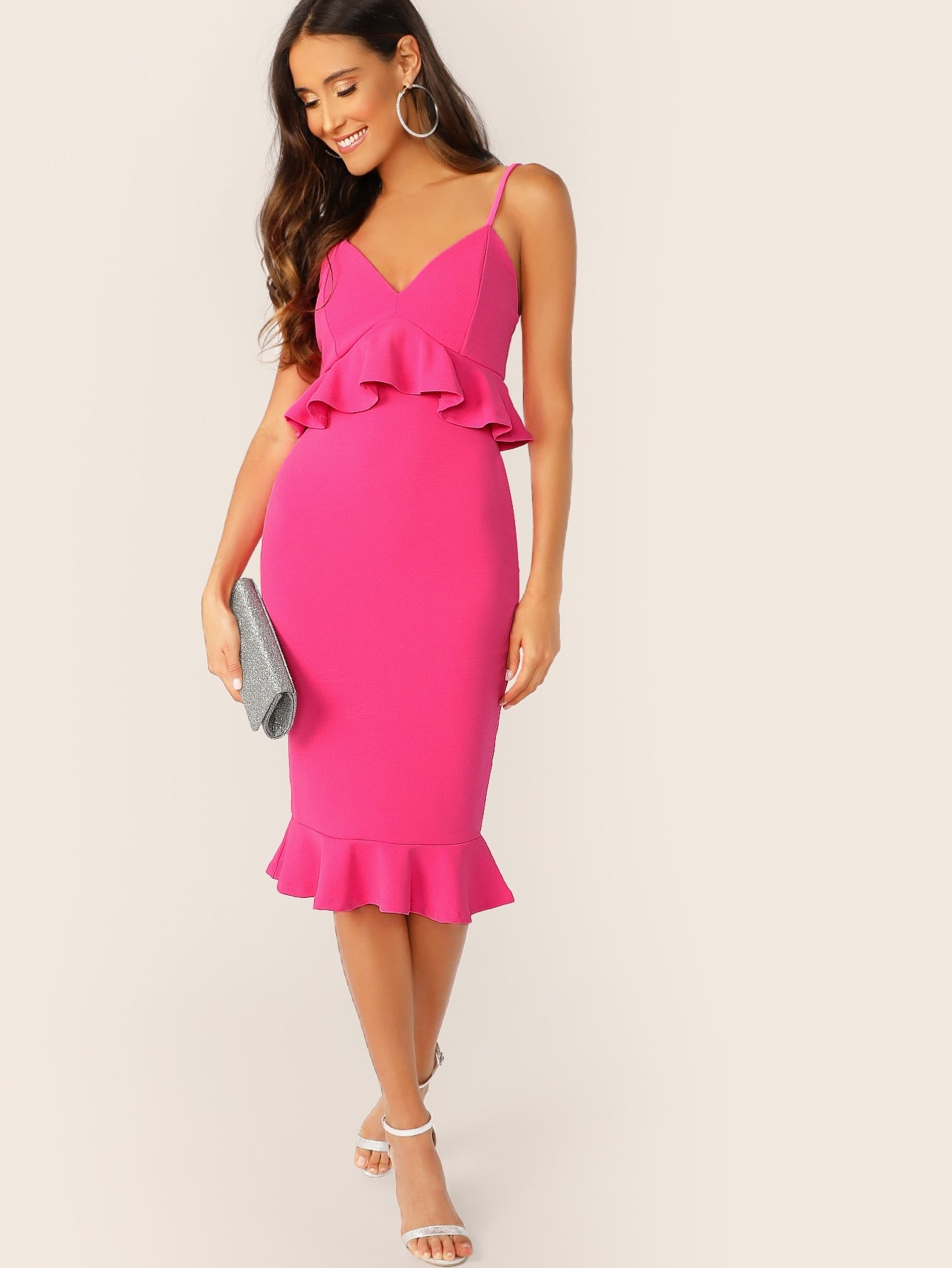 Neon Pink Bodycon Pep Slip Dress-Elegant-Trendy-JayBoutique-Hot Pink, Neon, Bright-XS-Trendy-JayBoutique