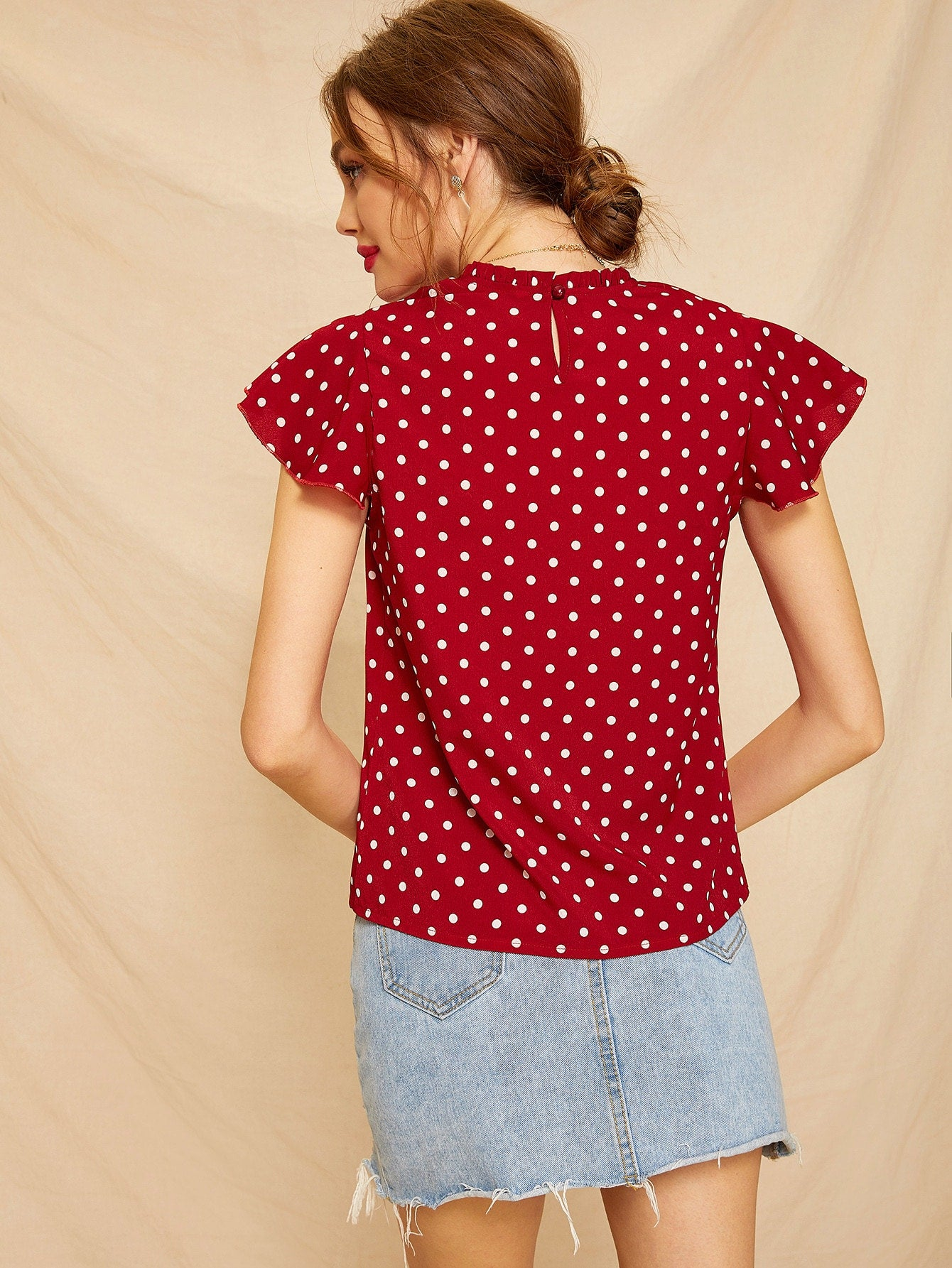 Butterfly Sleeve Polka Dot Frill Blouse-Polyester-Trendy-JayBoutique-Red-S-Trendy-JayBoutique