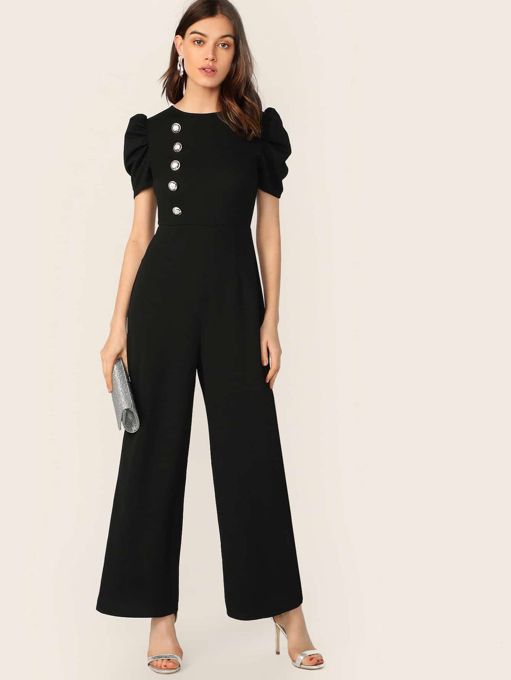 Button Embellished Puff Sleeve Wide Leg Jumpsuit-Trendy-JayBoutique-Black-XS-Trendy-JayBoutique