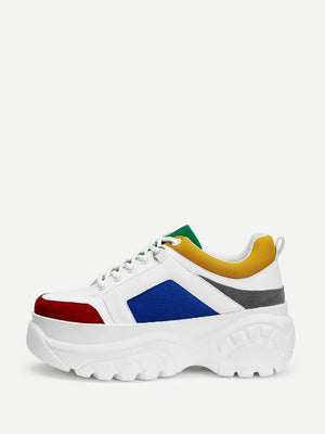 Colourblock Lace-up Chunky Sneakers-Mesh-Trendy-JayBoutique-EUR36-Trendy-JayBoutique