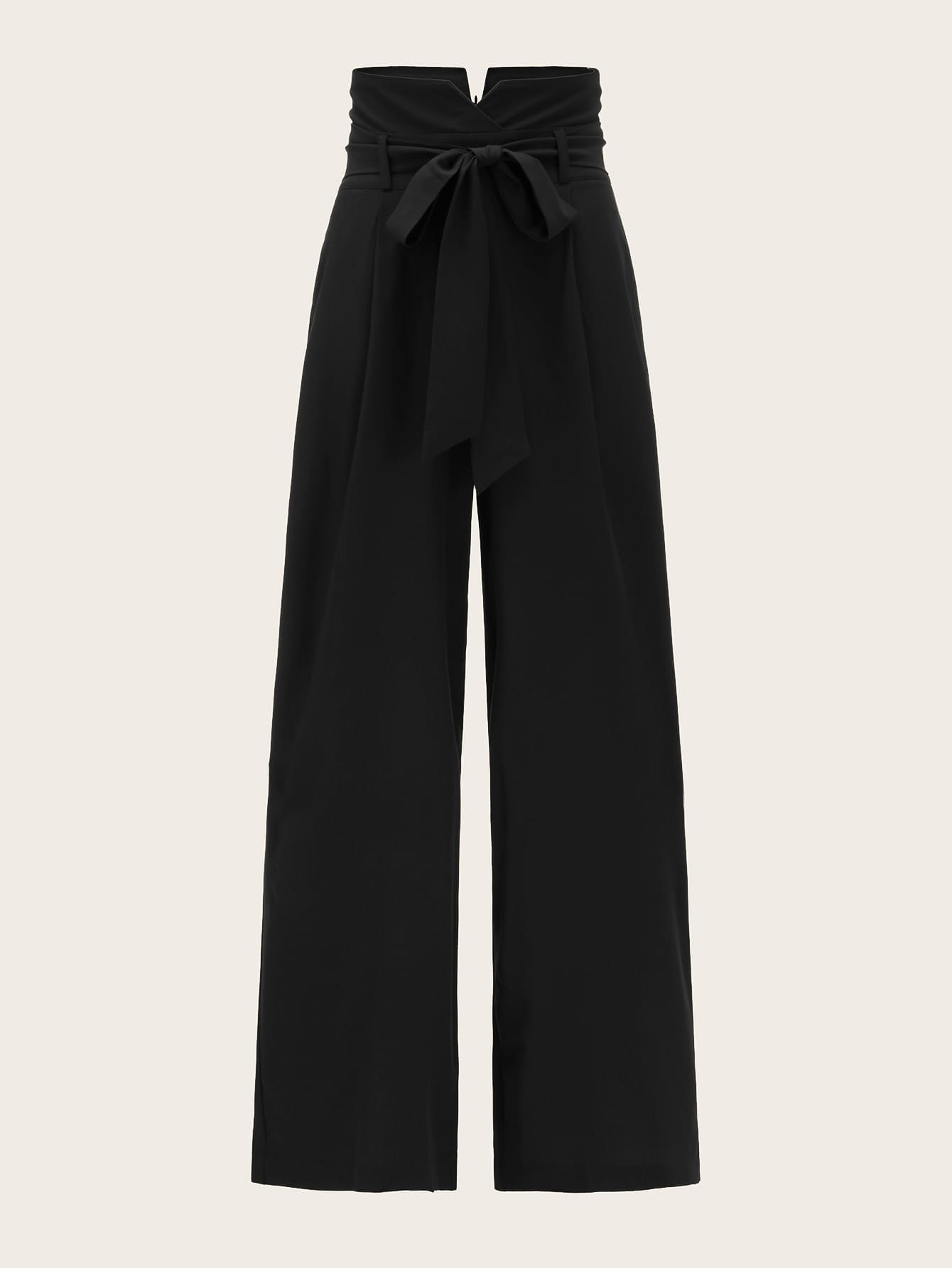 Foldover Waist Self Belted Palazzo Trousers-Vintage-Trendy-JayBoutique-color 1-XS-Trendy-JayBoutique