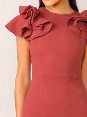 Solid Ruffle Trim Fishtail Hem Bodycon Dress-Elegant-Trendy-JayBoutique-XS-Trendy-JayBoutique