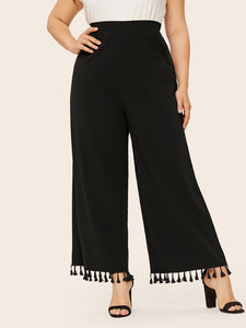 Plus Tassel Trim Wide Leg Trousers-Loose-Trendy-JayBoutique-0XL-Trendy-JayBoutique