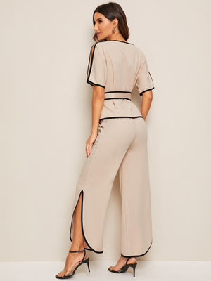 Piping Trim Belted Top & Split-side Pants-pant and trouser set-Trendy-JayBoutique-S-Trendy-JayBoutique