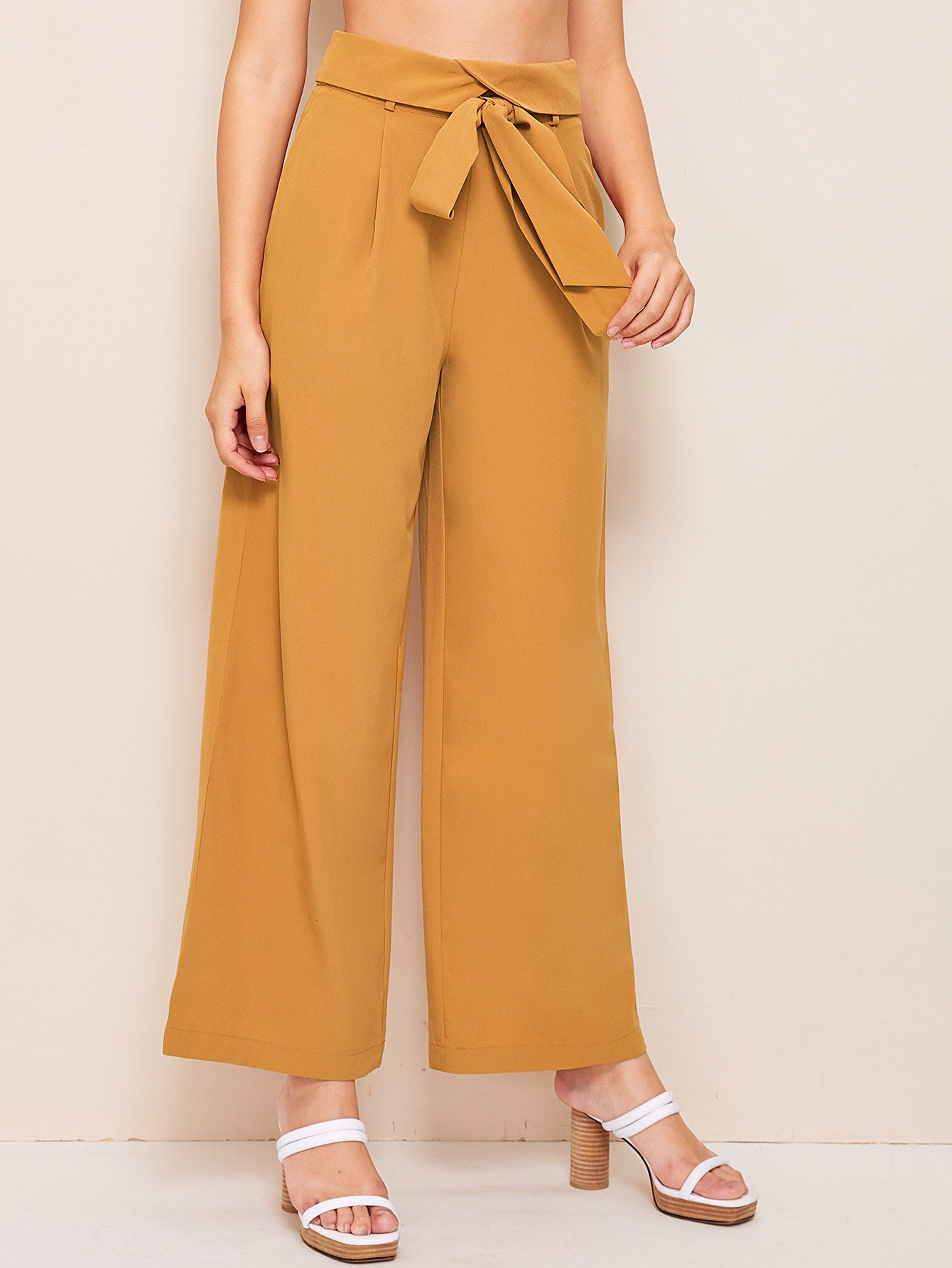 Foldover Waist Self Belted Palazzo Trousers-Vintage-Trendy-JayBoutique-Yellow-XS-Trendy-JayBoutique