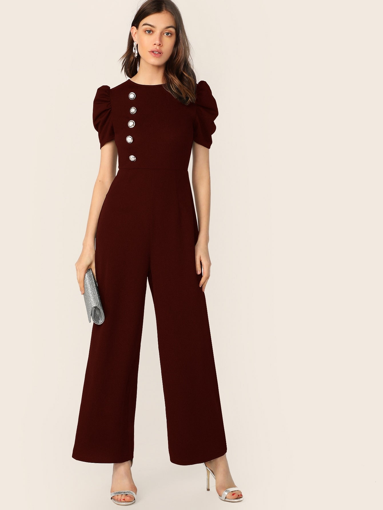 Button Embellished Puff Sleeve Wide Leg Jumpsuit-Trendy-JayBoutique-Burgundy-XS-Trendy-JayBoutique