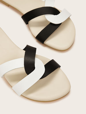Two Tone Open Toe Sliders-Black and White-Trendy-JayBoutique-EUR35-Trendy-JayBoutique