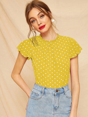 Butterfly Sleeve Polka Dot Frill Blouse-Polyester-Trendy-JayBoutique-Yellow-S-Trendy-JayBoutique