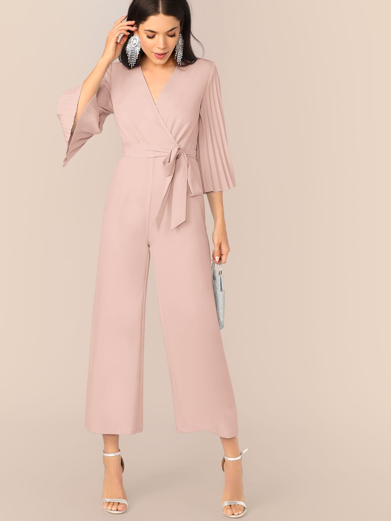 Pleated Flare Sleeve Jumpsuit-Trendy-JayBoutique-Pink-XS-Trendy-JayBoutique