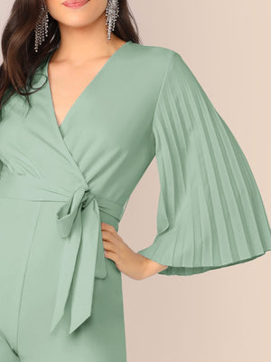 Pleated Flare Sleeve Jumpsuit-Trendy-JayBoutique-Green, Pastel-XS-Trendy-JayBoutique