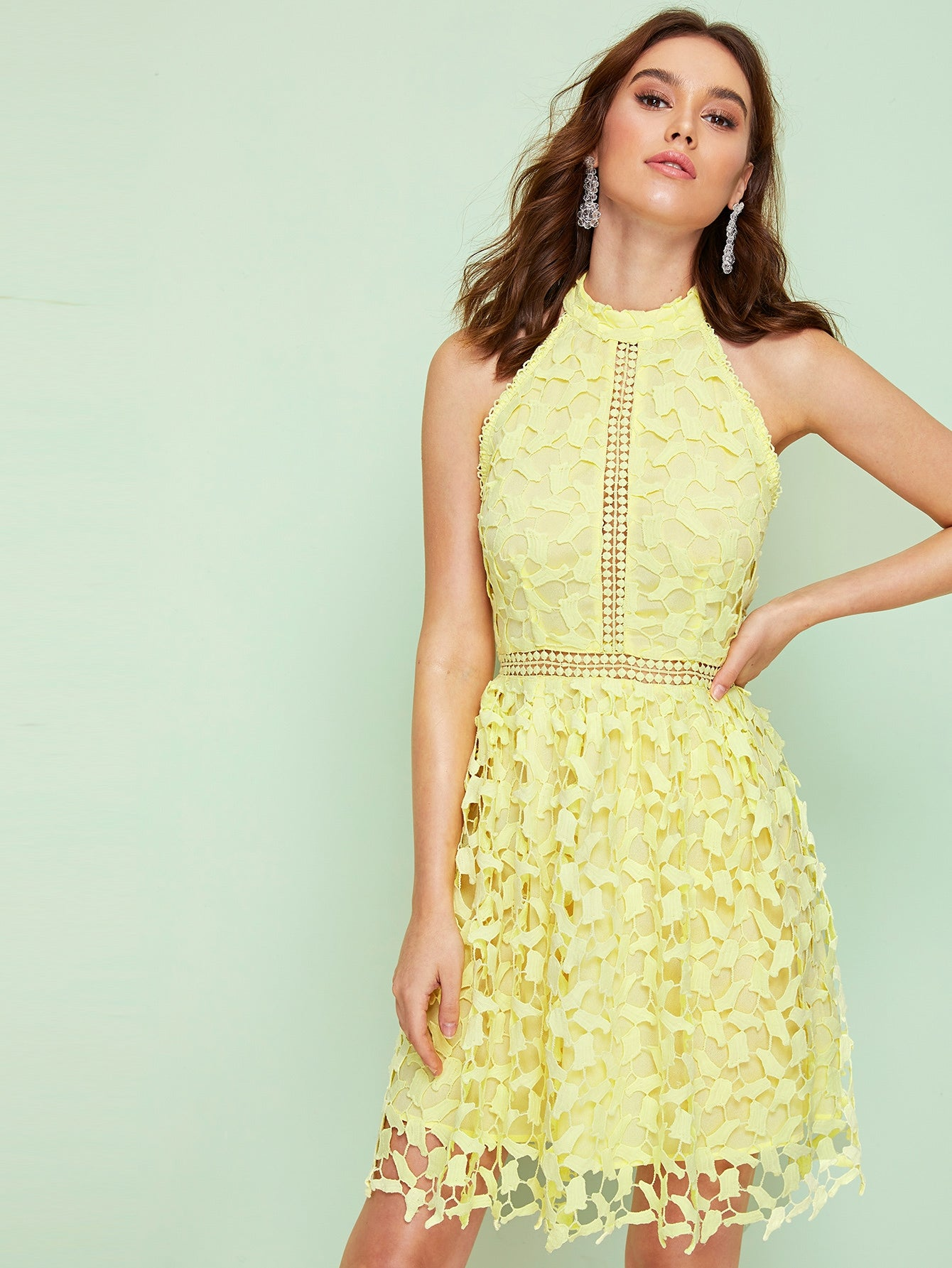 Guipure Lace Overlay Halter Dress-dress-Trendy-JayBoutique-Yellow, Pastel-XS-Trendy-JayBoutique