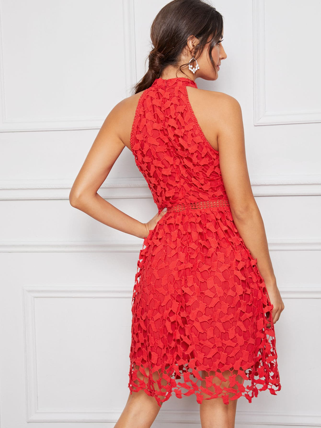 Guipure Lace Overlay Halter Dress-dress-Trendy-JayBoutique-Red, Bright-XS-Trendy-JayBoutique