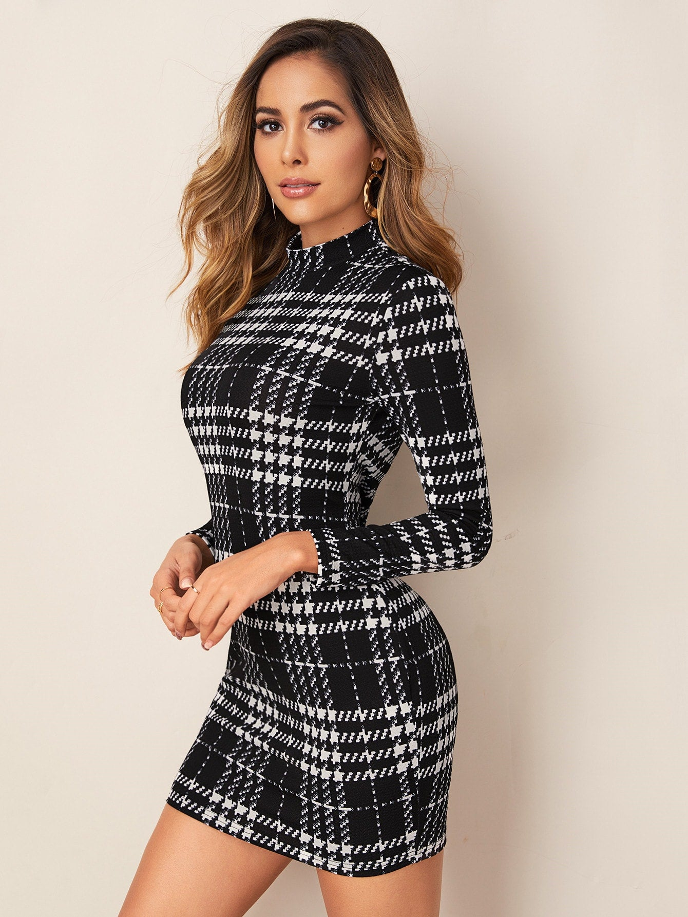 Mock-neck Long Sleeve Plaid Dress-dress-Trendy-JayBoutique-XS-Trendy-JayBoutique