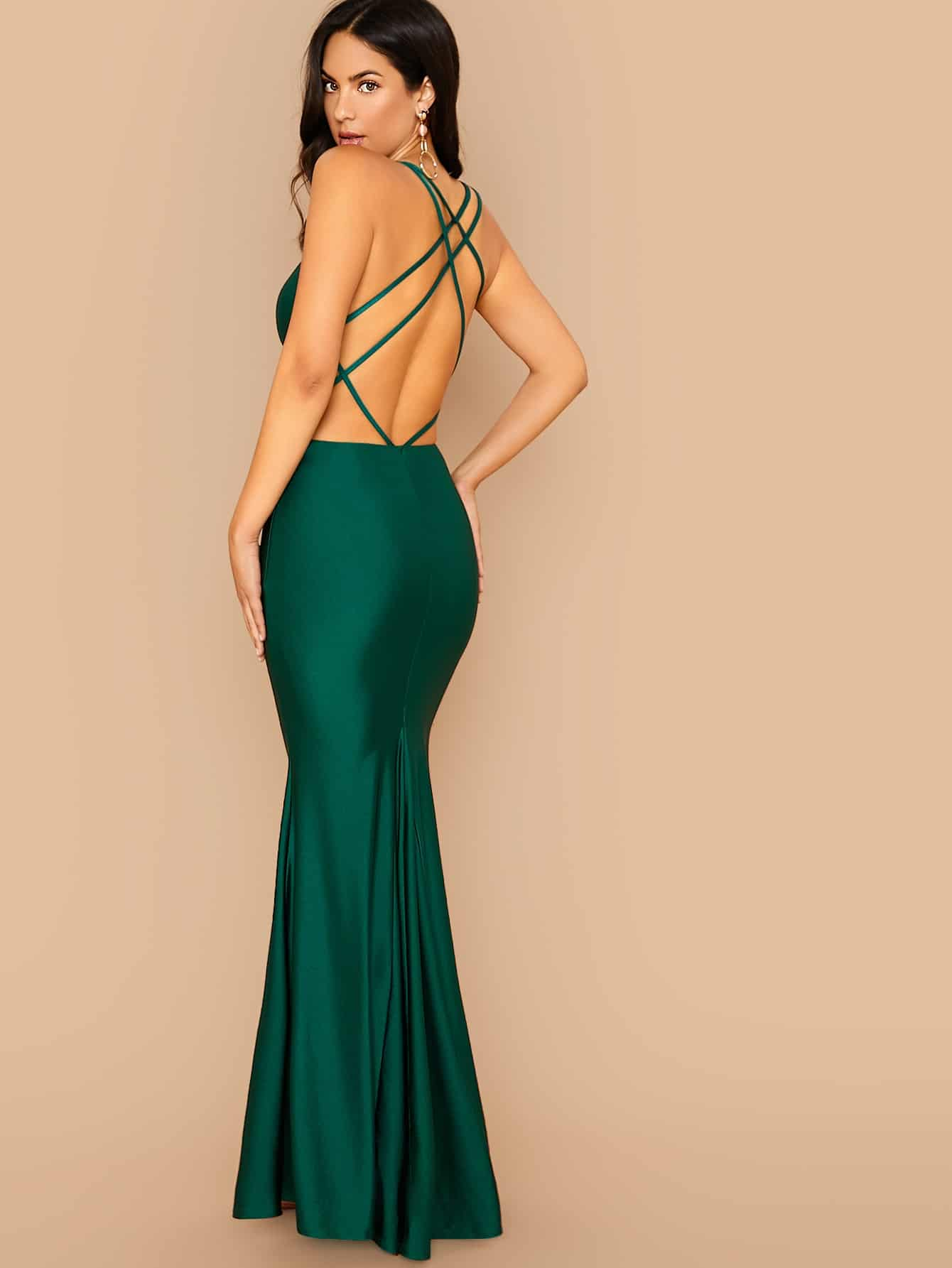 Plunge Neck Crisscross Open Back Fishtail Hem Dress-dress-Trendy-JayBoutique-XS-Trendy-JayBoutique