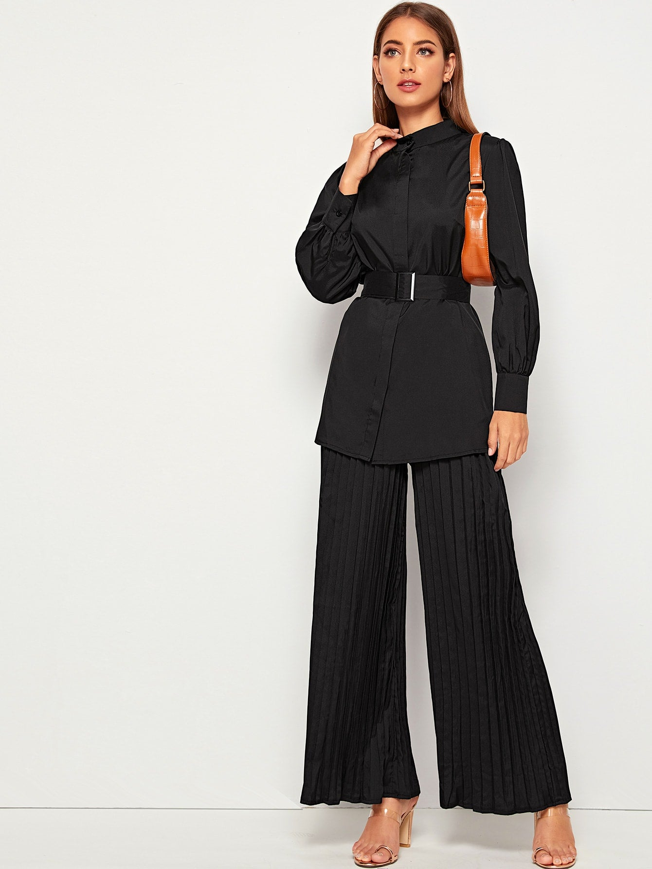 Belted Blouse & Pleated Wide Leg Trousers-Trendy-JayBoutique-Black-XS-Trendy-JayBoutique