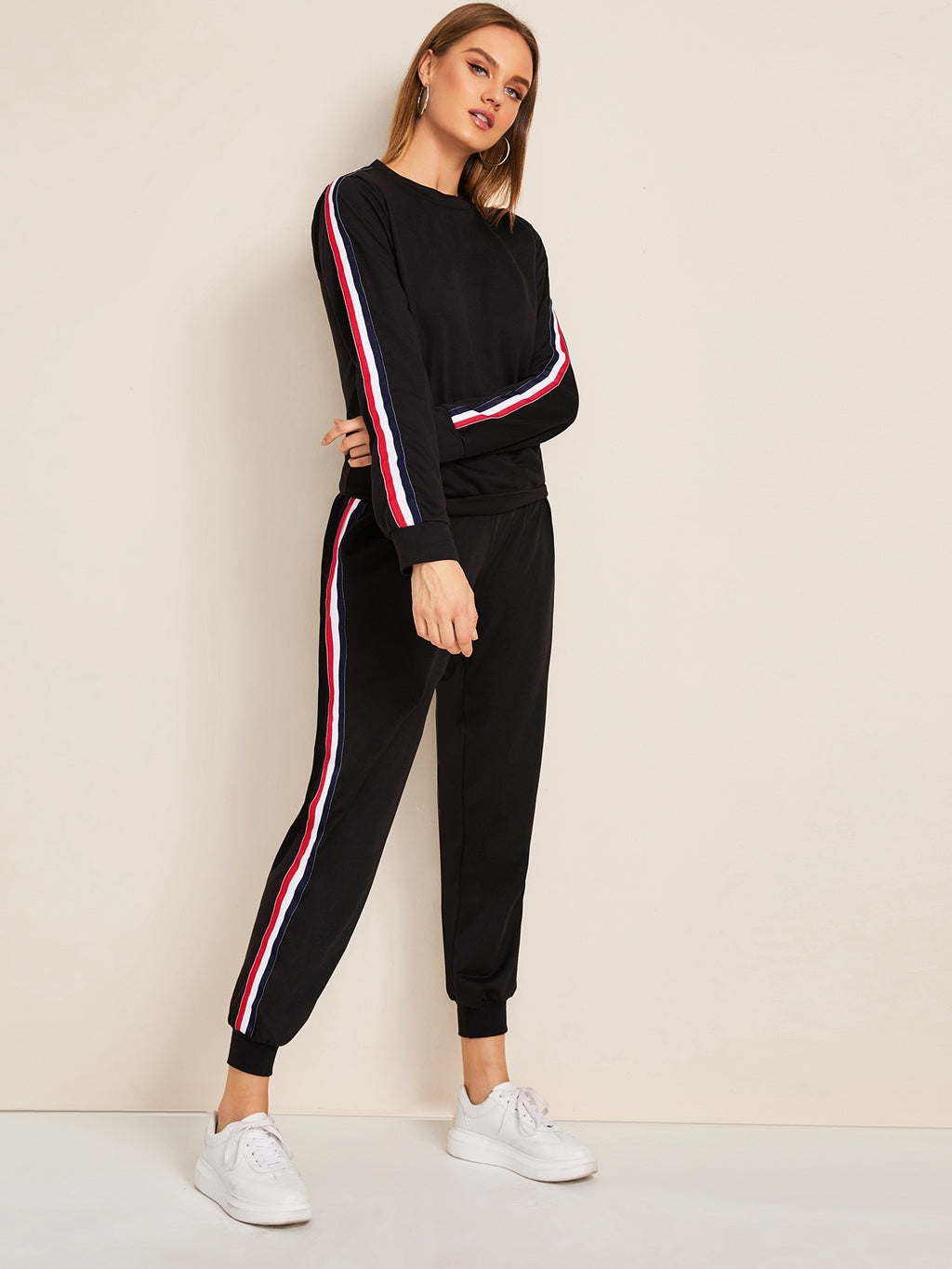 Striped Tape Side Sweatshirt With Joggers-Co-ord-blazer, co-ords, joggers, jogging bottoms, blazers-Black-S-Trendy-JayBoutique