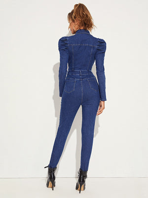 Gigot Sleeve Flap Pocket Front Utility Denim Jumpsuit-Trendy-JayBoutique-XS-Trendy-JayBoutique