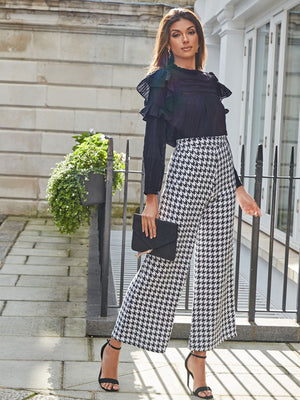 High Waist Houndstooth Print Palazzo Trousers-Trendy-JayBoutique-XS-Trendy-JayBoutique