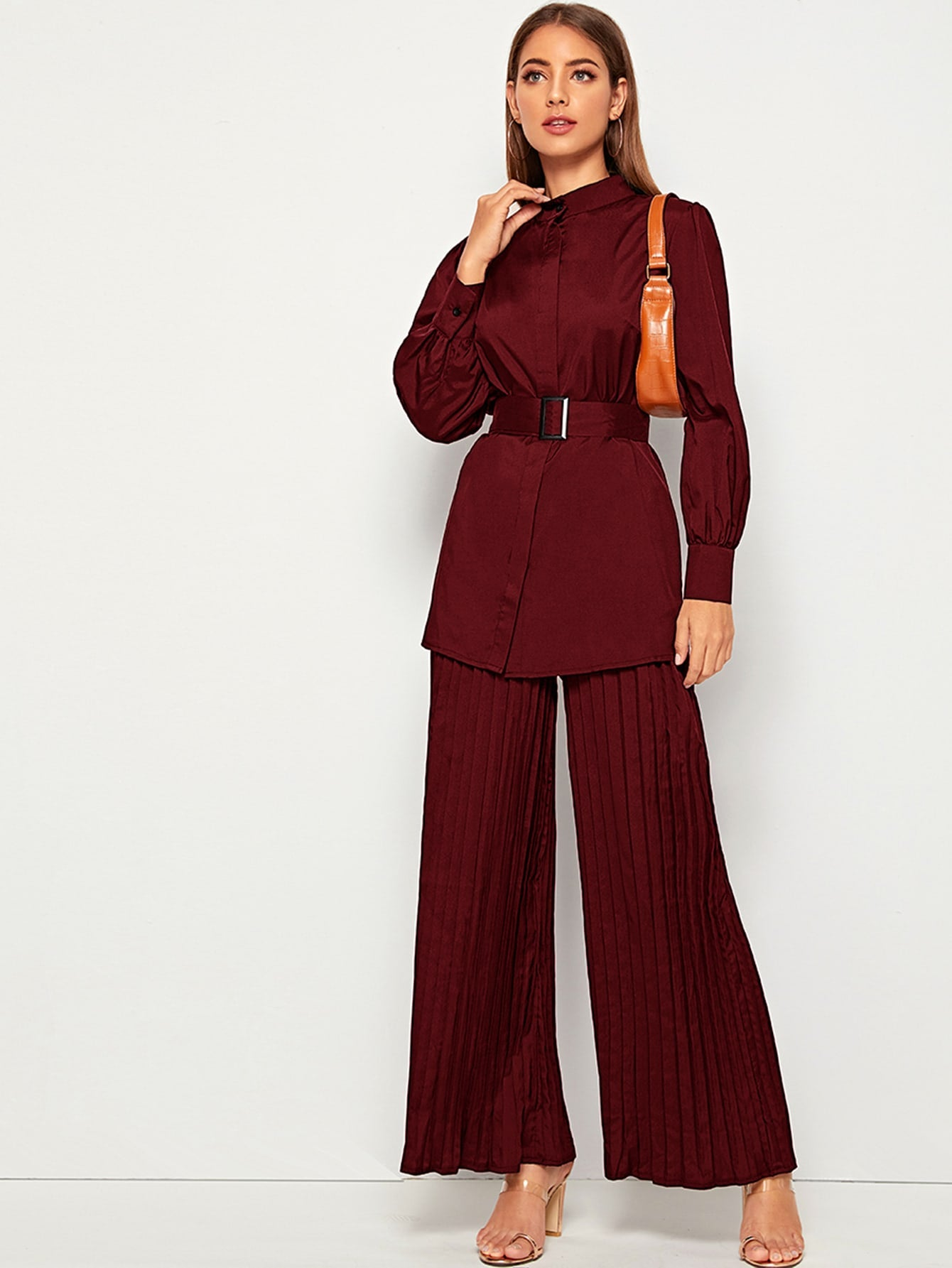 Belted Blouse & Pleated Wide Leg Trousers-Trendy-JayBoutique-Burgundy-XS-Trendy-JayBoutique