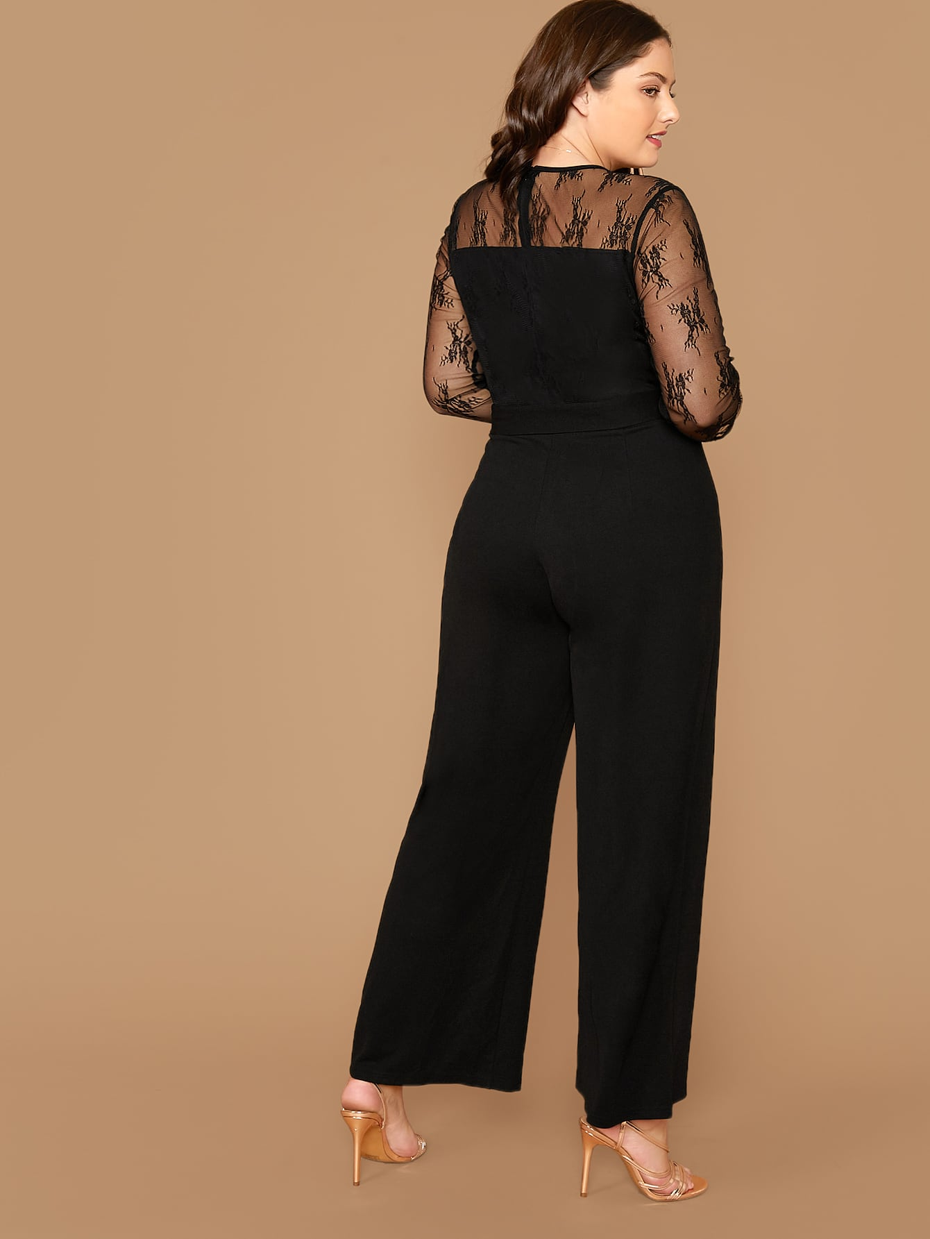 Plus Lace Shoulder Self Belted Wide Leg Jumpsuit-Trendy-JayBoutique-0XL-Trendy-JayBoutique