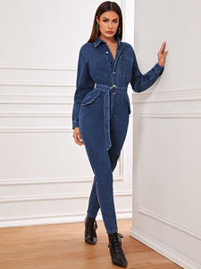 Button Front Pocket Patch Belted Denim Shirt Jumpsuit-jumpsuit-Trendy-JayBoutique-XS-Trendy-JayBoutique