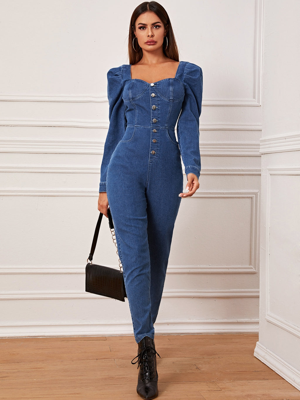 Sweetheart Neck Gigot Sleeve Denim Jumpsuit-Trendy-JayBoutique-XS-Trendy-JayBoutique