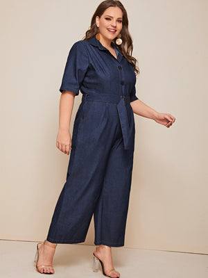 Plus Button Front Belted Denim Dungarees-Trendy-JayBoutique-1XL-Trendy-JayBoutique